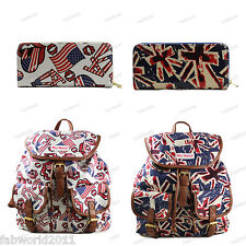 Multicoloured Union Jack Rolling Stones Canvas Rucksack Backpack with Purse