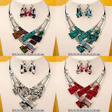 New Cross Shape Gold GP Chain Bib Statement Collar Necklace And Earrings Set N10