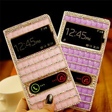 "Luxury Bling Rhinestone Leather Window View Case Cover For iphone 6 4.7"" 5.5"""
