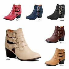 NEW Women Chelsea Cut-Out Strappy Chunky Stack Mid Heel Ankle Boots Booties Shoe