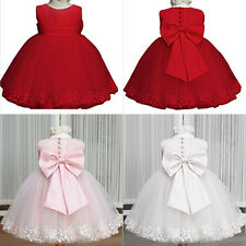 Big Bowknot Christmas ZIPPER Princess Lace Dress Page Girls Wedding Formal Dress