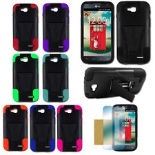For LG D415 Optimus L90 Hybrid Hard T-Stand Dual Armor Case Cover + SP Colors