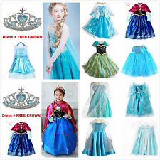 Kids Girls Dresses Disney Elsa Frozen dress costume Princess Anna party + Crown