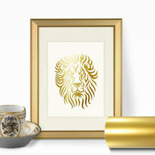 Lion Face Gold Foil Wall Art Print - Real Faux Gold Leaf, animal print, comic
