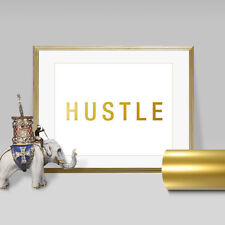 Hustle Faux Gold Foil Wall Art Print - Layered REAL Gold Leaf, Poster, canvas