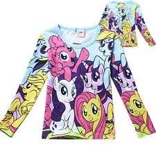 Cartoon Disney My Little Pony Costume Clothes Kids Girls Baby T shirt Top 3-8Y