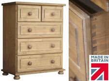 Waxed Solid Pine 3 over 2 Bedroom Chest of Drawers, Chelmarsh Collection