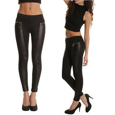 Women Faux Leather Panel Sexy Stretch Skinny Slim Leggings Pants Trousers Tights