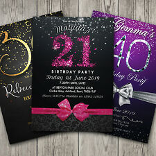 Personalised Birthday Party Invitations 18th 21st 30th 40th 50th 60th