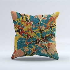 SUEDE STYLE 18x18 Inch FILLED THROW CUSHION - Abstract Blue Yellow Red p21