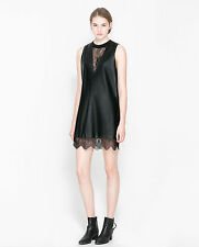 NEW AMAZING ZARA LACE AND LEATHER DRESS, NEW COLLECTION 2014