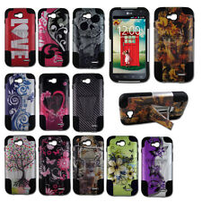 For LG D415 Optimus L90 Hybrid Hard T-Stand Dual Armor Case Cover + SP Design2