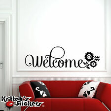 Welcome Flowers Vinyl Wall Decal Quote home word decor art flower sticker L124