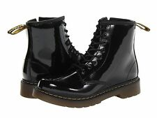 Junior Shoes Dr. Martens Delaney Leather Boot 15382003 Black Patent Lamper *New*