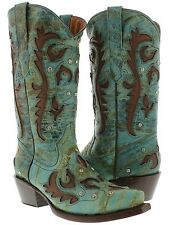 womens cowboy boots ladies turquoise leather & rhinestones western biker rodeo