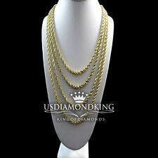 NEW MEN'S WOMEN'S REAL10K YELLOW GOLD HOLLOW ROPE CHAIN NECKLACE 2MM 16~22 INCH