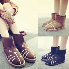 Winter Ladies Cartoon Cat Face Fur Lined Warm Shoes Snow Boots Flat Ankle Bootie