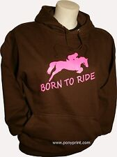 Born to Ride / forced to go to school pony horse girls/boys hoodie equestrian