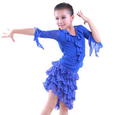 NEW Childrens Latin Salsa Ballroom Dance Dress Girls Dancewear costumes #JR006