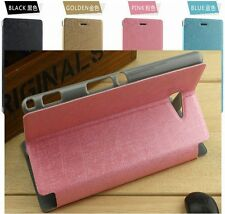 PU Leather Case Flip Cover Pouch for Sony Xperia M2 dual D2302, M2 Aqua Etui ys