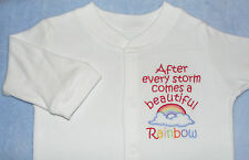 After a storm comes a beautiful rainbow - embroidered sleepsuit / babygro