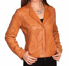 SCULLY Women's Cognac Tan Brown Leather Whip Stitch Lamb Jacket Coat L1 10 NWT