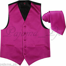 Hot Pink Fuchsia XS - 6XL Tuxedo Suit Dress Vest Waistcoat & Neck tie Wedding