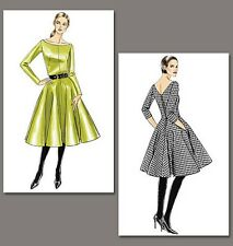 Very Easy Vogue 8615 Flared V-back Vintage Style Dress Sewing Pattern V8615