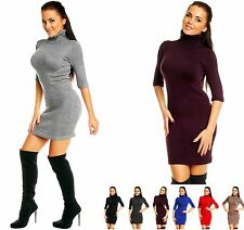Zeta Ville Women's Stretch Bodycon Knitted Half Sleeves Turtleneck Dress 125