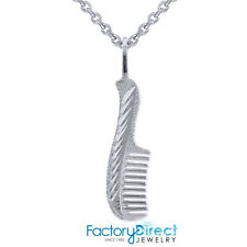 Sterling Silver Diamond Cut Hair Comb Charm Necklace