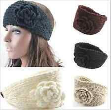 GIRLS KNITTED ROSE HEADBAND HAIR BAND SKI HAT EARMUFFS WINTER