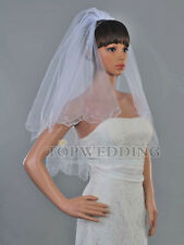 2T White Ivory Scallop Pencil Edge Elbow Length Bridal Wedding Veil Hair Comb