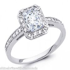 1.70 Ct Emerald Cut Halo Engagement Wedding Promise Ring Solid 14K White Gold