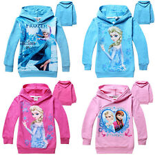 Hot!Girls Kids Frozen Princess Elsa Anna Hooded Coat Jacket Jumper Ages3-7years
