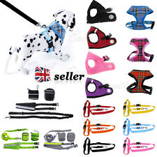 Adjustable Small Pet Dog Puppy Lead Soft Mesh Fabric Padded Harness Clips Collar