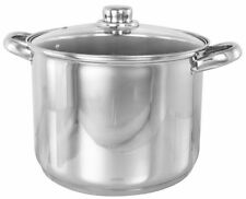 Stainless Steel Deep Induction Stock Pot With Glass Lid Casserole All Sizes New