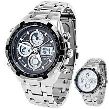 Multi Function Wrist Watch Analog Digital Quartz - Stainless Steel Band for Men