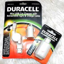 Original DURACELL Mini USB AC Charger with Retractable Syne & Cable + Car Charge