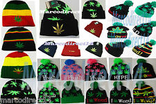 New Mens Womens Designer Weed Ganja Leave Knitted Winter Turnup Beany Beanie Hat