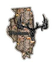 Illinois State Hunting Decal - Whitetail Deer Skull Camo Sticker IL