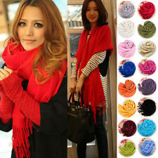 Hot Womens Cashmere Solid Color Pashmina Scarves Tassels Scarf Wrap Shawl Stole