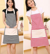Women Kitchen Striped Restaurant Bib Apron with Pocket Cooking Aprons Black Red