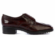 TOD'S WOMEN'S CLASSIC LEATHER LACE UP LACED FORMAL SHOES DERBY BORDEAUX  48D