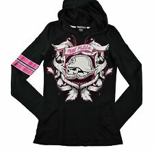 Metal Mulisha AUTUMN PULLOVER Black Hot Pink Hooded Long  Sleeve Juniors T-Shirt