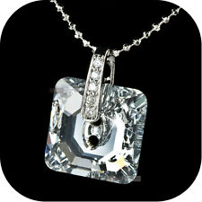 925 Sterling SILVER 18K White GOLD GP PENDANT SIMULATED DIAMOND