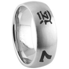 Stainless Steel Lucky Love Hope 7 Number Chinese Hieroglyphs Band Ring Size 9-13