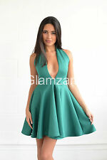 New Womens Ladies Halterneck Low cut Plunge skater Bodycon mini Green Glam Dress