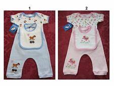 Bambini Infant Baby Boys/Girls Onesie Pants 3 Pc outfit set w/bibs sz:0-3,3-6,6-