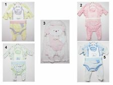NEW Infant Baby Girls Boys 6 pc  Hat Shortall,Creeper,Jumpsuit Layette set SZ: 0