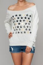 NWT OFF THE SHOULDER STARS LONG SLEEVE SWEATSHIRT- 2 COLORS AVAILABLE-ALL SIZES